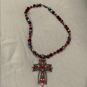 Jewelry - Crystal Ruby Red Cross necklace